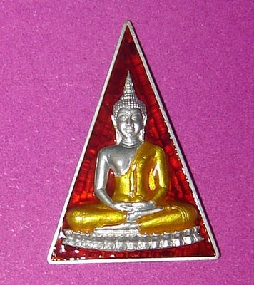 Somdej Pra Nang Paya Niramit Choke Hlang Paya Nak (Naga on rear face) - Nuea Ngern Long Ya Rachawadee (Solid Silver with enamels and painted image) - Luang Por Jaran - Wat Ampawan 2554 BE