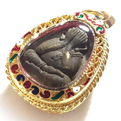 Pra Pid Ta Maha Lap Sanaeh Sri Mongkol 2559 BE - Maha Wan 108 Powders 2 Takrut Khaen Gold Plated casing Coloured Enamels - Luang Por Raks Analayo - Wat Sutawat Vipassana