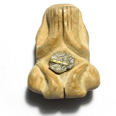 Pra Pid Ta Ud Pong Fang Gesa 2554 BE - Hand carved White Mai Man Pla Wood - Sacred Powder 1 Gold Takrut + Monk Hair - Luang Por Gliang