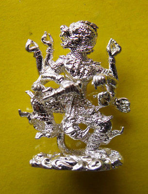 Hanuman Paed Gorn (eight armed Hanuman) - Nuea Galai Ngern (silver alloy) - Luang Por Poon - Wat Pai Lom 2547 BE