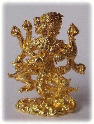 Hanuman Paed Gorn (eight armed Hanuman) - Nuea Loha Chup Tong (Sacred Bronze Gold Plated) - Luang Por Poon - Wat Pai Lom 2547 BE