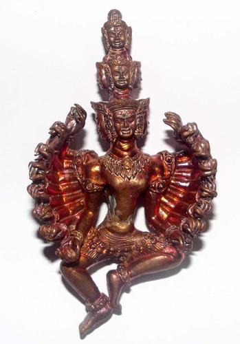 Pra Narai  Batiharn Perd Loke Nuea Taewaroop Khom Pan Pi (16 arms 9 heads Vishnu) - Seven Colored 1000 Year Old Khmer Sacred Metal 4 x 7 Cm - Luang Phu Pa 2553 BE