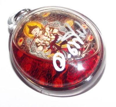 Locket Paetch Payatorn in Sacred Prai Oils of Red Cockerel + Wan Dork Tong - 2 Takrut + Lingam Insert - A.C. Perm Prai Dam
