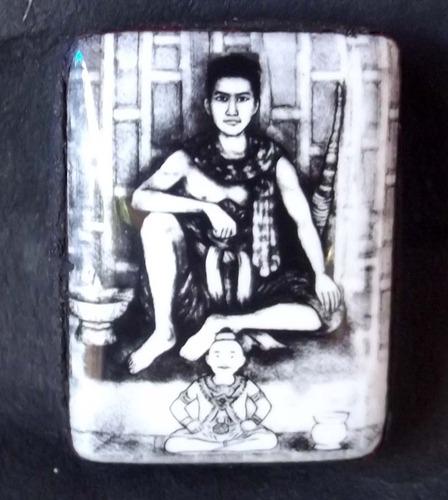 Locket Pra Phun Phaen - with Kumarn Tong (Ongk Kroo Master Piece Version) - filled with sacred Maha Saneh Powders, white robe, + 2 Takrut + Chin Aathan + 4 Gems - Samnak Ajarn Meng Khun Phaen 2555 BE