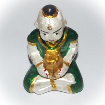 Kumarn Tong Bucha Statue (Green) - stuffed with Nam Man Prai - Luang Por Dam - Wat Pra Puttabat Radtana Kiree