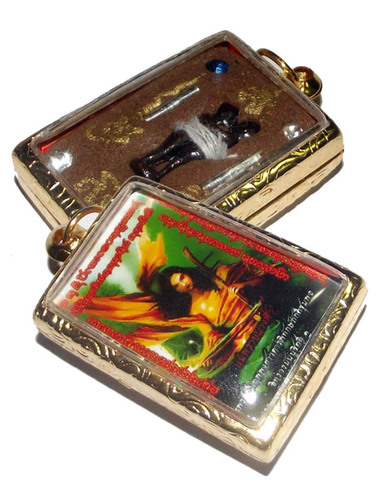 Locket Taep Mae Nang Fa (Mother Fairy Prai Deva) - Ongk Kroo Pim C (2 takrut, 4 Gems with In Koo in Prai Powders) - Pra Ajarn Taep Pongsawadarn 2555 BE Gold Micron case included