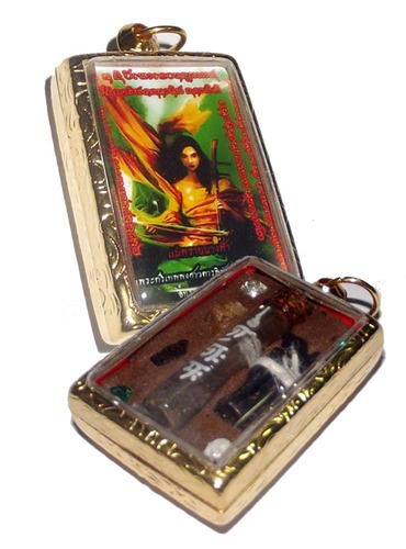 Locket Taep Mae Nang Fa (Mother Fairy Prai Deva) - Ongk Kroo Pim B (1 Takrut, 4 Gems, In Koo, Chin Aathan, Ghost Bone + Pong Prai Flask) - Pra Ajarn Taep Pongsawadarn 2555 BE Gold Micron case included