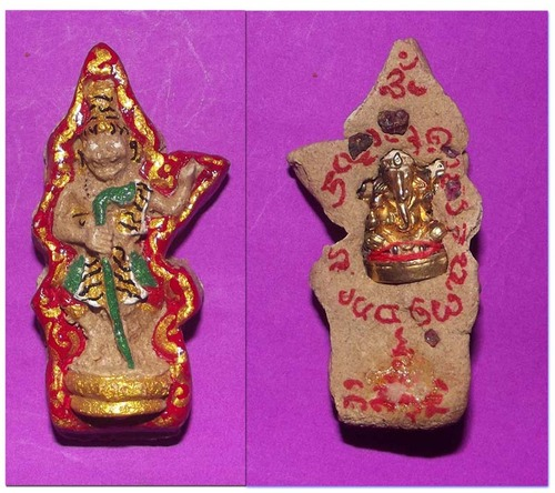 Ruesi Phu Jao Saming Prai (Tiger Face Ruesi) Ud Pra Pikanes (Ganesh in rear face) - fang Pra Taat (relic minerals) - Ajarn Taep Pongsawadarn