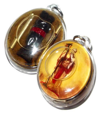 Kamataep Locket - Deva of Love immersed in Prai Oil + In Koo + 2 Silver Takrut Maha Sanaeh - AC Perm Prai Dam