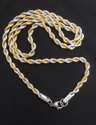Two Tone (Gold/Silver) Pendant Neck Chain for 1 Single Amulet - Thick Gauge Rope Style with closure ring 25 Inches Long