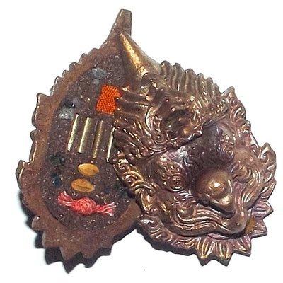 Siarn Paya Krut Garuda Mask - Nuea Chanuan Phiw Rung 5 Silver Takrut + Sacred Relics, Blessed Rice Grains, Monks Robe - Kroo Ba Aryachat - Wat Saeng Gaew Potiyan