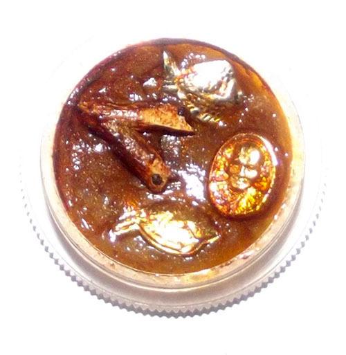 See Pheung Sariga Pla Tapian Met Dtaeng Luang Phu Sukh - Celestial Magpie + LP Sukh Coin + Lucky Barbfish Metta Potion - Wat Pak Klong Makham Tao 2545 BE
