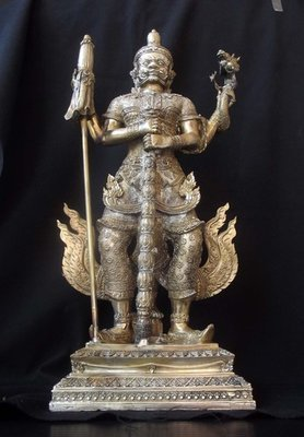 Taw Waes Suwan Tri Plab Pela (Three Legged Asura King of Wealth) - 19 Inch High Bucha Statue 10 amulets in base - 'Nam Rerk'  - Wat Na Pra Meru Blessed by Pra Ajarn Ord & 96 Guru Monks - only 139 made