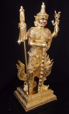 Taw Waes Suwan Tri Plab Pela (Three Legged Asura King of Wealth) - 19 Inch High Bucha Statue - Sacred Bronze 24 K Gold Leaf  - Wat Na Pra Meru Blessed by Pra Ajarn Ord & 96 Guru Monks - Only 59 Made