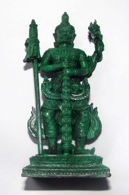 Roop Lor Taw Waes Suwan Tri Plab Pela (Three Legged Asura King of Wealth) - 4.6 Inch High Bucha Statue - Sacred Bronze with Green Patina - Wat Na Pra Meru - Blessed by Pra Ajarn Ord & 96 Guru Monks