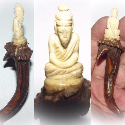 Lersi Por Gae  Thai Hermit God - Nuea Khao Kwang Gae Salak Carved Deer Antler Wand - Luang Por Dam - Wat Pra Puttabat Radtana Kiree