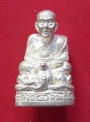 Roop Lor Pra Luang Por Thuad Nang Ballangk Ngoo Hao (LP Thuad on a Cobra Throne) 2537 BE - 23 grams solid silver - Wat Pako - empowered by  LP Nong (Wat Sai Khaw) No. 698