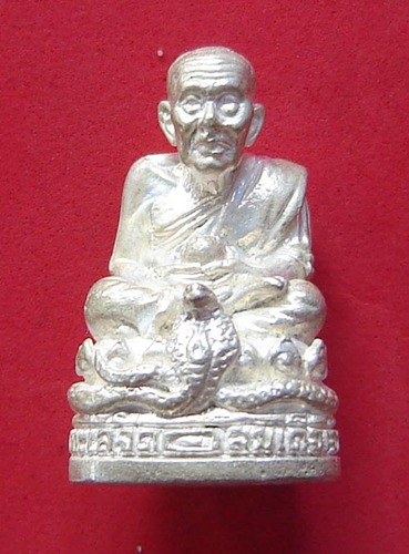 Roop Lor Pra Luang Por Thuad Nang Ballangk Ngoo Hao (LP Thuad on a Cobra Throne) 2537 BE - 23 grams solid silver - Wat Pako - empowered by  LP Nong (Wat Sai Khaw) No. 698