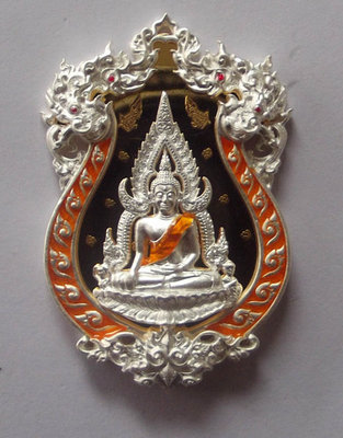 Rian Chalu Pra Putta Chinarat 'Jom Rachan' (Warrior King) edition 2555 BE - Nuea Ngern Long Ya Si Som (Solid Silver with Orange Enamel + Gold Plated Back) - Wat Pra Sri Radtana Maha Tat (Pitsanuloke)