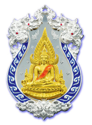 Rian Chalu Pra Putta Chinarat 'Jom Rachan' (Warrior King) edition 2555 BE - Nuea Ngern Long Ya Si Nam Ngern (Solid Silver + Gold Buddha with Blue Enamel) - Wat Pra Sri Radtana Maha Tat