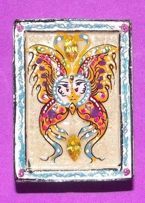 Taep Jamlaeng Pim Klang 'King Butterfly ' Sacred Powder hand painted with money spiders, Pra Upakut, 2 Silver Takrut, 6 empowered crystals - Kru Ba Krissana 2542 BE 'Jaroen Ngern Jaroen Tong'