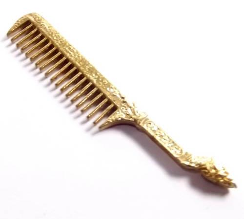 Hwee Maha Mongkol Money Comb of Great Blessings with Naga Head Handle (Small 6.2 cm) - Nuea Rakang Chup Tong (Sacred Bronze + Goldplating) - Luang Phu Maha Kam Daeng - Sadta Mongkol Edition 2555 BE