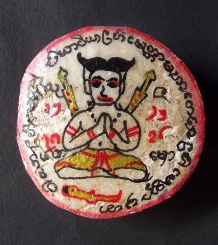 Khun Phaen Chin Aathan Kanad Yai (large piece) - Hand Carved Khun Phaen Casting Spells (2 swords) with 2 Kumarn Tong, Vishnu Chakra, Magic Gemstone Bead, 7 Diamonds - Pra Ajarn Dtecharangsri