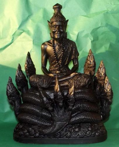 Pra Ruesi Nang Ballang Paya Nak (Ruesi on 9 Head Naga Throne) - 8 x 10 Inch - Sacred Resins with Magical Minerals - Luang Phu Nong Tammachodto - 'Traimas 2553 BE' Edition -Wat Wang Sri Tong