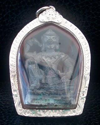 Hanuman Metta Riak Sap with solid silver casing by LP Nong Tammachoto - Wat Wang Sri Tong