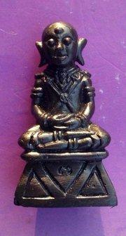 Pra Ngang Siarn Lone (bald head) - Fang Tapu (coffin nail) + Takrut Ngern Koo (2 Takruts in sacred powder base) - Nuea Loha - Ajarn Kom Traiwaes - Price includes postage