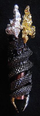 Takrut Nak Giaw - Naga Charm for increasing Riches and Protection from Danger - Nuea Samrit Chup Black Chromium - Wai Kroo 53 Edition - LP Naen Kampiro - Wat Ban Kaset Thung Sethee