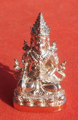 Pra Kring Rakang Luang  -  Nuea Nava Gae Ngern (9 metals and Silver) with Gold Micron Casing - Kroo Ba Aryachat - Wat Saeng Gaew Potiyan 1.9 x 3 Cm