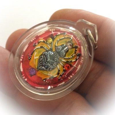 Maeng Mum Maha Pokasap 'Money Trap Spider' -  Krob Rorb 40 Sae Yid 60 Edition 2557 BE - hand painted, 2 Takrut, 10 Gemstones 1 Pikanes - Kroo Ba Krissana