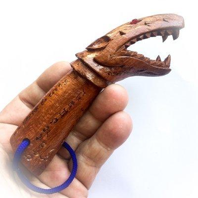 Palad Khik Hua Chamot Nuea Mai Saksit Fang Ploi 5 Inches Civet Head Lingam Amulet - Luang Por Jidtr Wat Taep Nuan Tip