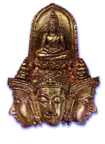 Pra Prohm Perd Loke (Brahma Opening the Worlds) - Nuea Nava Loha (9 Sacred Metals) - 'Traimas' Edition 5 x 3.5 Cm - Luang Por Phad - Wat Rai 2551 BE