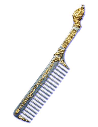 Hwee Maha Mongkol (Large 12 Cm) Money Comb of Great Blessings with Naga Head Handle - Nuea Ngern Tong (Bronze + Silver-Gold Plating) - Luang Phu Maha Kam Daeng  - Sadta Mongkol Edition 2555 BE