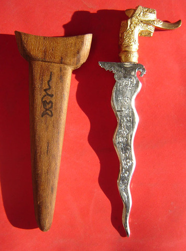 Grich Rit Waet Nor Mo Khao Or (Jantra - Moon magic) first edition Moon Ritual Spirit Knife 5 Inches long with Hongsa Head hilt - Nuea Sadta Loha Chup Chromium - LP Prohm Wat Ban Suan - Only 99 made