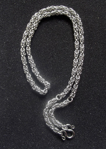 Medium Thick Gauge Stainless Steel Knotted Rope Style Neck Chain for One to Three Amulets - 24 Inches Long