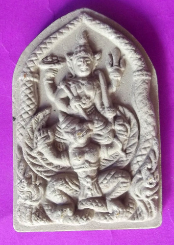 Pra Narai Song Krut Chut Pised Maha Amnaj Serm Duang - Vishnu Riding Garuda Steed and Nagas Escorting - Nuea Pong Toop + Takrut + Relic insert, Hand made Khmer Spell Inscription - Luang Phu Kampant
