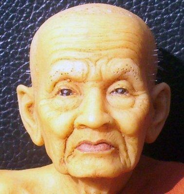 Luang Por Tuad Bucha statue realistic wax figurine - 6 inch high