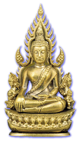 Pra Putta Chinarat (Loi Ongk Statuette) 'Jom Rachan' (Warrior King) edition 2555 BE - Nuea Tong Rakang (Sacred Brass + Yantra Foils) - Wat Pra Sri Radtana Maha Tat (Pitsanuloke)