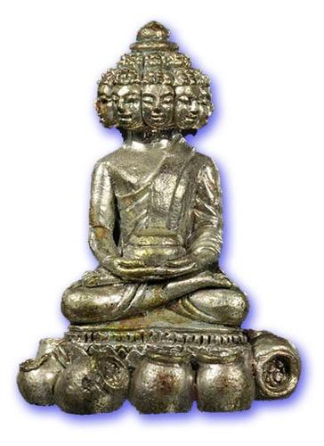 Pra Sethee Navagote Gao Hai (Nine Face Millionaire Buddha on 9 Post of Treasures) Silver and 9 Sacred Metals - 95th birthday Edition - Luang Por phad (Wat Rai) 2553 BE