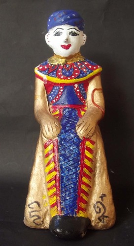 Ma Dtaeri (Hand Made + Painted Burmese Kumarn Tong - Male Version) - 5 Inches High - Nuea Din Aathan (Sacred Earth) Ud See Pherng Nam Man Prai (Prai Oil Balms inserted) - Luang Por Kane - Wat Koh Poo