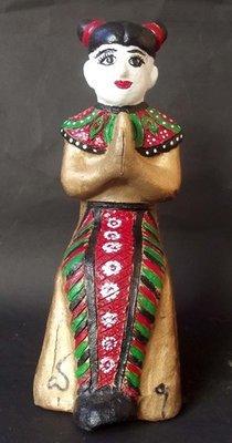 Ma Dtaeri (Hand Painted Burmese Kumarn Tong - Female Version) - 5 Inches High - Nuea Din Aathan (Sacred Earth) Ud See Pherng Nam Man Prai (Prai Oil Balms inserted) - Luang Por Kane - Wat Koh Poo