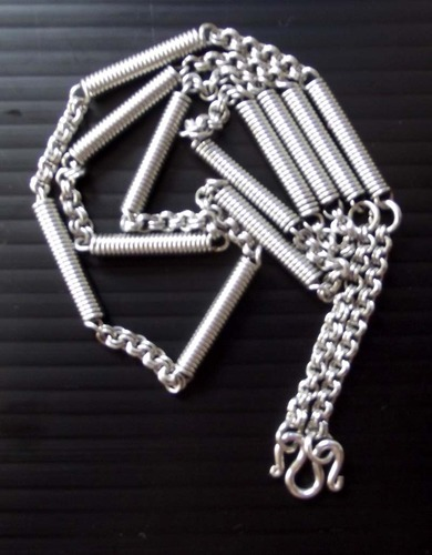 Stainless Steel Neck Chain for Amulets - Thick Gauge with spring coil segments  - for 1 to 3 amulets attachment - 31 Inches long
