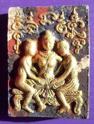 Pong Sanaeh Jantr Nang Taep Apsorn Yoni (Apsara Maiden Yoni Deva) 'Ongk Kroo Pised' (Special Masterpiece Version) - 10 Silver Takrut + 2 Real Pearls - Luang Por Goey Chutimunto