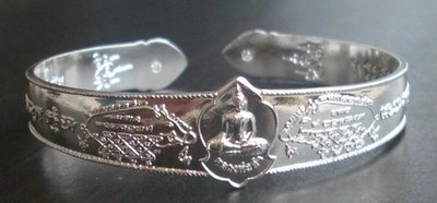 Gamlai Yant Moo Tong Daeng Dood Sap - Nuea Ngern Tae (solid silver bracelet with wild boar Yantra) - Luang Por Somkid - Wat Beung Tata