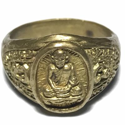 Hwaen Run Raek 1st edition Guru Monk Ring 1.7 Cm - Nuea Tong Pasom - Luang Phu Khui - Wat Sap Takian