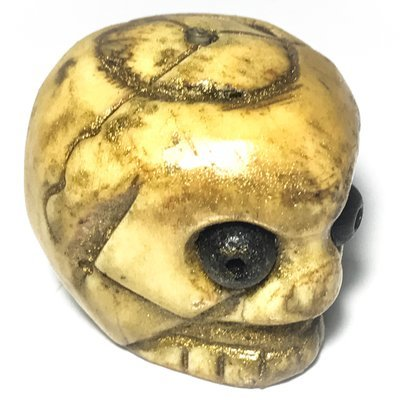 Prai Grasip Ai Khee Der Jom Chon Dtua Kroo 2552 BE - Carved Bone Ghost Whisperer Skull Only 9 Ever Made - Luang Phu Jan Khantigo (Kampuchea)
