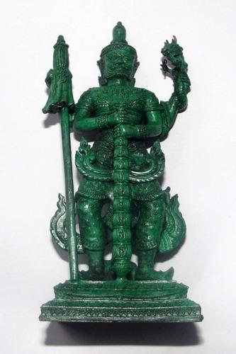 Roop Lor Taw Waes Suwan Tri Plab Pela (Three Legged Asura King of Wealth) - 4.6 Inch High Bucha Statue - Sacred Bronze with Green Patina - Wat Na Pra Meru - Blessed by Pra Ajarn Ord & 96 Guru Monks